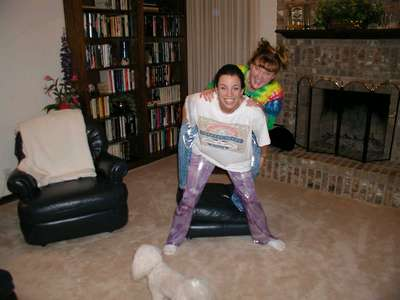 Shannon and I goofing off in OKC in our happy pants
