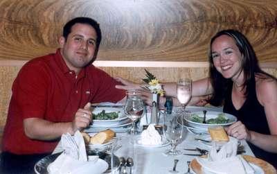 **6/3/2003** Dan and me at dinner, Normandie Restaurant