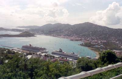 **6/3/2003** View from the top of St. Thomas.  You can see the Pride.