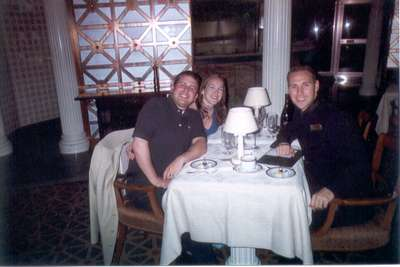 **6/5/2003** Dan, me, and Josh at David's Supper Club (the fine dining restaurant on the Pride)
