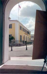**6/3/2003** Sitting down and looking out towards the street in St. Thomas
