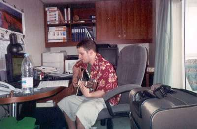 Dan playing Josh's guitar--waiting for the ship to leave...