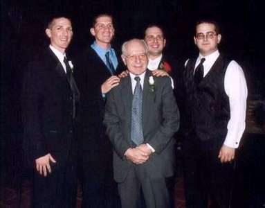 The brothers and their grandfather..  :) Jason and David, Dan and Adam with Pop