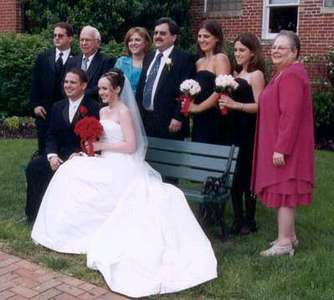 Dan and Steph with Dan's dad's family (l-r: Adam, Ed, Marcia, Mike, Jess, Elisa, Barbara)
