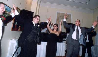 Dan, Adam, Jess, and Eric doing the YMCA...