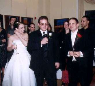 Dan and Steph with Adam during his best man speech