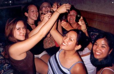 July 1999 Shots for everyone...celebrating Kim's 21st birthday in VA Beach, VA