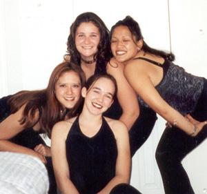 1998 Kim, Edna, Dot, and me before the Circulo Hispanico Party