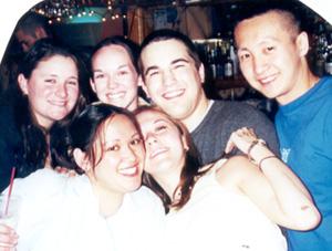 April 2001 Kim, me, Edna, Dot, Tim, and Vin at Sharkey's in Blacksburg, VA