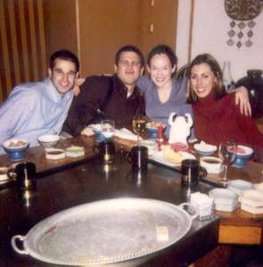 January 2001 Stu, Dan, me, and Rachel enjoying dinner at Benihana
