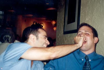 September 2001 Stu and Dan at Olive Garden...sharing after dinner mints