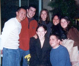 November 2000 Vin, Tim, Dot, Edna, Kim, Dan and me in front of Cheesecake Factory.