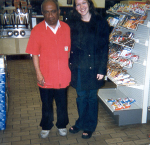 February 2000 me with our 7-11 friend.  He would always give me free stuff and would charge Dan full price!  :)
