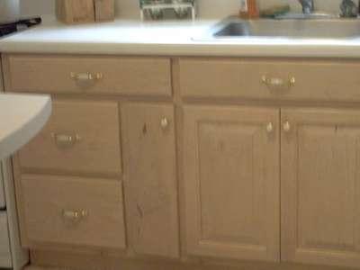 Kitchen Cabinets White  Brass Handles