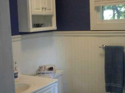 bathroom- White  Purple/Blue