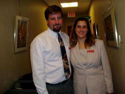 Mike and Heather at a banquet for work