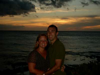 A burnt Dave and Alyson on their last night in Hawaii. Couldn't pass up another sunset.