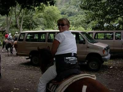 Alyson on horseback in the valley.