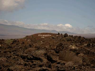 Dave and I leaving our mark on the Big Island before we left. You are allowed to use white rock to write messages in the lava. Dave just wanted to leave an impression no one would miss.