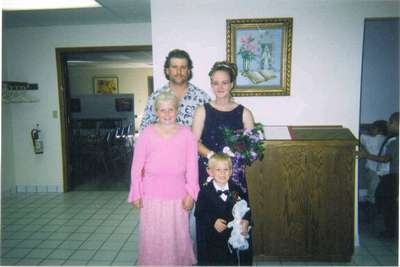 Kristy's brother's wedding Sept 20, 2003. Scott, Kristy, Emily and Cordell