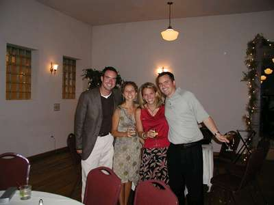 Craig his girlfriend JoAnn, Katie and Marc relaxing at the rehearsal dinner.