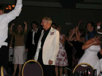 My grandpa leaving the dance floor after the dance off.