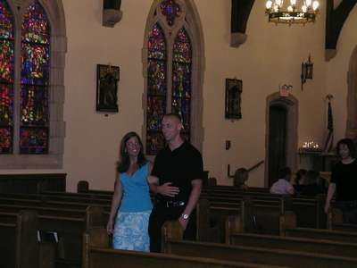 Shannon and Jake leaving the church after the rehearsal.