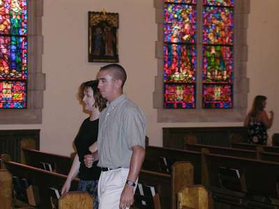 Joel and Niki practicing their final walk out of the church.