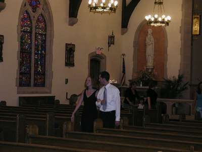 Julie and Alec practicing their entrance for the ceremony.