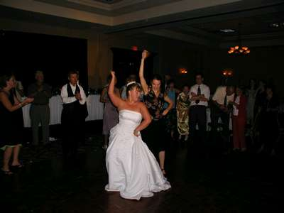 Me and Dave's cousin Kathy during the family dance off.