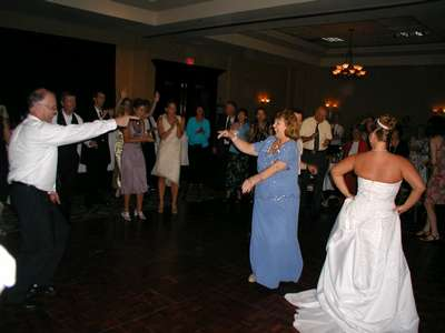 My mom and Dennis dancing during the family dance off.