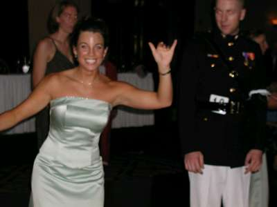 Shannon giving the hang loose sign during one of the dances....ODD