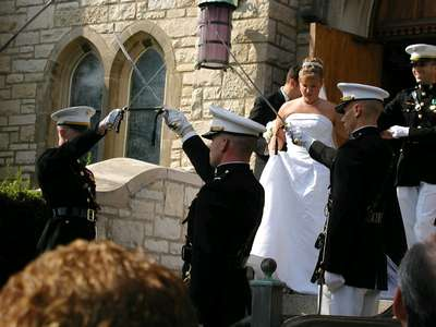 Sword arch after the wedding ceremony.