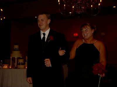 Kevin and I walking into the reception for Marc's wedding.