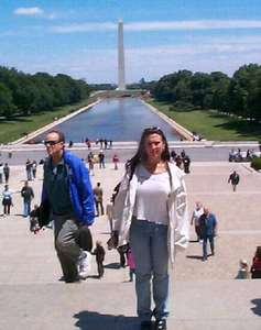 Jen in front of the Reflecting Pool