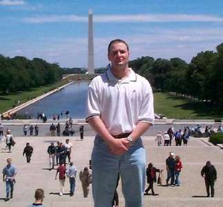 Mike in front of the Reflecting Pool