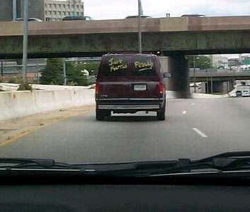 Tha back window reads  Just Married - FINALLY