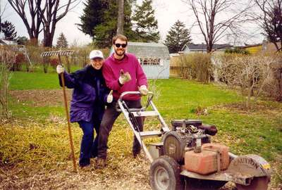 Stump Grinding after Labor Day Storm 1998