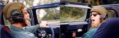 Tank Helmuts in Matts Jeep 1997