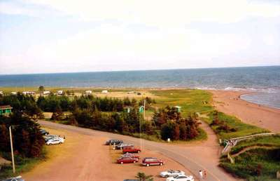 Our Campsite where we got engaged viewed from West Point Lighthouse PEI