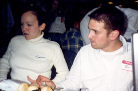 November 1999  Intensely concentrating on the horses at the track...
