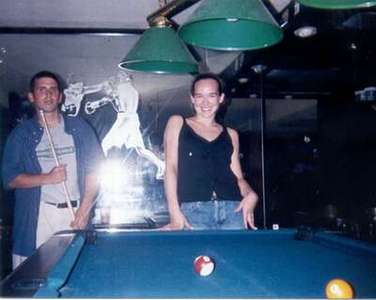 July 1998 Playing pool at a place called Club Soda, DC.