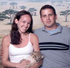 May 2001 Dan and Steph holding a baby lion cub at MGM Casino, Las Vegas, NV