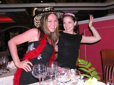 Dressing up and dancing at dinner...