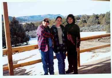 The bride, her mom, and aunt Kaye at the cabin