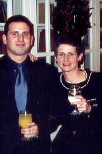 December 2001 Dan and his Mom at the Holiday party, Rockville Mansion, MD.