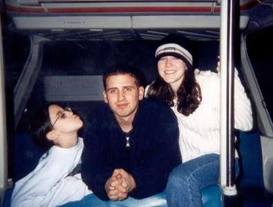 December 1999 Elisa, Dan, and Steph on the monorail in Disneyworld.