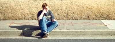 February 2000 Inside joke-spray paint on the sidewalk...hmmm....