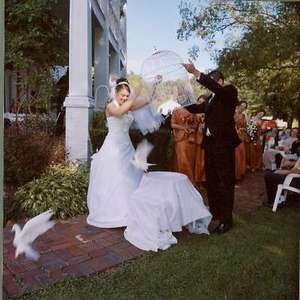 What a phenomenal picture as Greg and I release the doves (and notice that we block them from flying over our guests - to their ultimate relief).