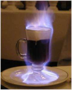 This is a picture of the flaming coffee that Greg had for dessert.